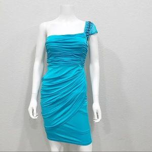 Bebe single shoulder body-con drape dress